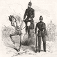 MILITARIA: The Crimean mounted police, antique print, 1855